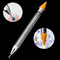 ongles à pois achat en gros de-Chaude Haute Qualité Double Tête Ongles Dotting Pen Nail Art Dotting Outils Strass Goujons Picker Cire Crayon Diamant Poignée