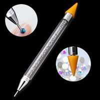 Wholesale nail pen diamond - Hot High Quality Double Head Nail Dotting Pen Nail Art Dotting Tools Rhinestone Studs Picker Wax Pencil Diamond Handle