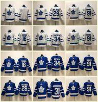 camisa de folha de bordo dos miúdos venda por atacado-Juventude Crianças Toronto Maple Leafs # 91 John Tavares Jerseys 34 Auston Matthews 29 William Nylander 16 Mitch Marner Em Branco Azul Branco Costurado