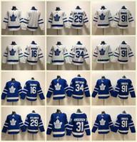 ingrosso foglia di acero bianco-Youth Kids Toronto Maple Leafs # 91 John Tavares maglie 34 Auston Matthews 29 William Nylander 16 Mitch Marner Bianco blu bianco cucito