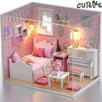 ingrosso case in legno in miniatura di legno-Mobili casa delle bambole in miniatura Fai da te Miniature Miniature Miniature Case delle bambole in miniatura per Natale -H015