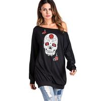 Wholesale Top Halloween Costumes For Women - Aonibeier Skull Print Off Shoulder Long Sleeve Hoodies Halloween Costumes for Women Tops 2018 Autumn Plus Size Sweatshirt