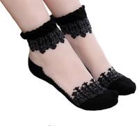 ingrosso calzini di seta trasparenti-Calzino donna arricciato in pizzo Calzino morbido cotone elasticizzato in misto cotone lavorato a mano