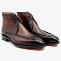 botas de trabajo marrones hombres al por mayor-Botas de hombre Custom Hand Patina marrón punta cuadrada de grano completo cordones derby tobillo botas de trabajo piel de becerro genuina BT-04