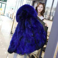 Wholesale Womens Hooded Wool Coat - Womens Real Fur Jackets Winter Parkas Long Coat Hoodies Fox Fur Lining Warm Thick Outwear Windbreaker New Fashion 2017 Blue Pink