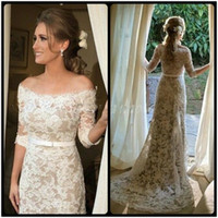 Wholesale sexy dresses for beach wedding resale online - 2018 Vintage Sheath Lace Wedding Dresses Half Sleeve Sexy Off Shoulder vestidos de noiva Bridal Gowns for Bride
