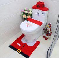 наборы для туалета оптовых-Новогодний коврик для ванной 3шт / комплект Снеговик Крышка сиденья для унитаза Коврик для ванной Коврик для ванной комнаты Новый год Украшения для дома Унитаз