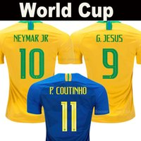 neymar jr brasil jersey al por mayor-Brasil camisetas de fútbol 2018 copa del mundo Brazil soccer jerseys equipo nacional NEYMAR JR G JESÚS P COUTINHO MARCELO FIRMINO PELE PAULINHO calidad superior de Tailandia AAA football jersey shirt