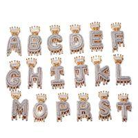 schmuck initialen männer großhandel-Benutzerdefinierte Crown Tropf Initialen Blase Buchstaben Halsketten Anhänger Für Männer Frauen Kubikzircon Hip Hop Schmuck Mit Seil Kette