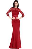 Wholesale plus size floor skirts online - 2018 Mermaid Long Sleeve Elegant Prom Dresses New Jewel neck Vintage Lace with Satin Skirt Mother Dresses Evening Wear