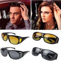 Wholesale yellow night driving glasses - 500pcs HD Night Vision Driving Sunglasses Yellow Lens Over Wrap Glasses Dark Driving Protective Goggles Anti Glare Outdoor Eyewear GGA124