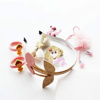 Wholesale Birthday Girl Pin - Girls Hairwear Hair Accessories Baby Birthday Party Gifts Box Headdress Set Cartoon Cherry Jewelry Hair Pin Princess Hair Clips 8pc A8117