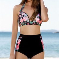 Wholesale Bikini Brazillian - 2018 Sexy Floral Print Bikinis High Waist Swimsuit Swimwear Women Brazillian Bikini Set Female Bathing Suit Biquini Beach Wear
