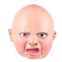 Wholesale funny costumes sale - Best Sales Eco-friendly Full Head Interesting Baby Mask Disgusted Happy Cry Baby Funny Mask Costume Halloween Party
