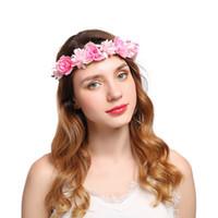 yapay çiçek düğün saçları toptan satış-Kadın Boho Kafa bandı Çiçek Çiçek Taç Yapay Çiçek Bandı Saç Aksesuarları Çelenk Düğün Hairband Yüksek Kaliteli Ürün