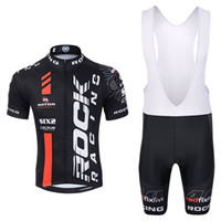 Wholesale cycling clothes online - ROCK RACING team Cycling Short Sleeves jersey bib shorts sets D gel pad team sport maillot ciclismo clothing Breathable Quick dry N04024014