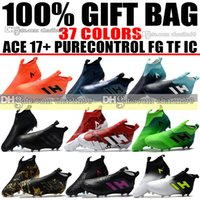 Wholesale Black Leather Tango Shoes - New 2018 Laceless High Ankle Football Boots ACE 17 Purecontrol FG Soccer Shoes Indoor ACE 17.1 Tango Pure Control IC TF Soccer Cleats Turf