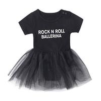 rulo sallamak toptan satış-Bebek Kız TulumSkirt Siyah ROCK N ROLL BALERIYAN Mektuplar Baskı Iki parça Giyim Setleri TUTU Etek Kıyafetler