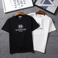 Wholesale men s new model shirt - 2018 summer new double BB color letters short-sleeved t-shirt female printing loose round collar wild simple couple models