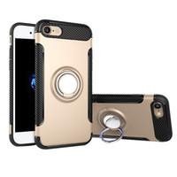 çift katmanlı kapak toptan satış-IPhone için XS Max S10 Koruyucu Kılıf ile Halka Tutucu kickstand arka Kapak Kılıf Samsung Not 9 için sağlam Çift Katmanlı Kılıf S9 Artı S10 Lite