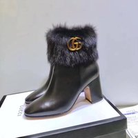 Wholesale Designer Shoes Boots Ladies - 2018 Designer Brand High Heels Women Luxury Shoes Faux Furs Lady Boots Party Wedding Shoes New Arrival Winter Boots