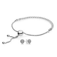 jóia de prata venda por atacado-925 Sterling silver Sparkling Droplets Bracelet and Brinco Gift Set fit DIY charme Original Pulseiras jóias Um Conjunto