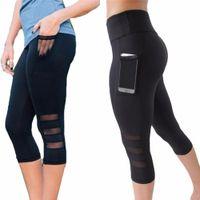 fitness yoga pantolon siyahı toptan satış-Buzağı uzunlukta Pantolon Capri Pantolon Spor tozluk Kadın Spor Yoga Spor Yüksek Bel Legging Kız Siyah Örgü 3/4 Yoga Pantolon kadın