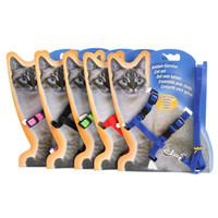 fichas usadas venda por atacado-Colorido Magro Coleiras de Gato Resistente Material de Nylon Prático Gatinho Leva Com Fivela de Metal Animais de Estimação Uso Deslizante Trelas Suprimentos 2 45zj Z