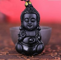 Wholesale jade carving amulet - Chinese Handicraft Natural Black Obsidian Carved Lucky Blessing Baby Buddha Amulet Pendant Necklace Jade Jewelry Dropshipping