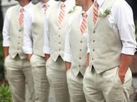 Wholesale business casual pants - Men Suit Vests Casual Sleeveless V Neck Wedding Groomsmen Business Men Suit Waistcost Pants 2018 Style 18060601