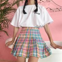 faldas a cuadros coreanos al por mayor-Summer College Wind Rainbow Gradient Plaid falda faldas de las mujeres damas Kawaii femenino coreano Harajuku ropa linda mujeres