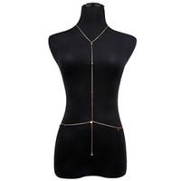 göbek kolye zincirleri toptan satış-Boho Kristal Rhinestone Bikini Vücut Seksi Zincir Kolye Altın Kadınlar Için Bodychain Çok Belly Bel Zincir Kolye