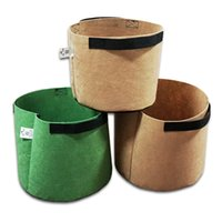 Wholesale greenhouse garden grow flowers plants for sale - Green Brown Non Woven Fabric Flower Pots with Handles Bag for Seeds Growing Grow Tent Garden Decor Greenhouse Fairy Garden Miniatures