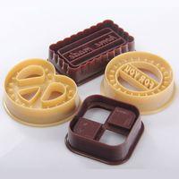 наборы для выпечки оптовых-Wholesale-4pcs/set Plastic Chocolate Molds Fondant Cake Moulds Cookie Mold Bakeware P10099