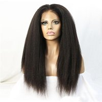 Wholesale long kinky straight lace wig - Natural Hairline Black Brown Kinky Yaki Long Straight Lace Wigs for Black Women Heat Resistant Synthetic Lace Front Wigs with Baby Hair