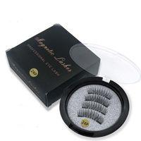 Wholesale fake lashes glue resale online - New Hot sale Dual Magnetic False Eyelashes Natural Long Fake Lashes Magnets don t need glue drop shipping