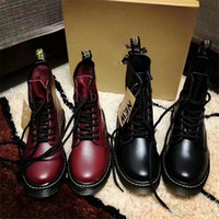 Wholesale leather ladies boots - 2017 Dr A Martens Women's 1460 Vegan Cambridge Brush Lace Up Boot Cherry Red DR A MARTENS Ladies Black Leather 1460 8-Eye Boots With Bo
