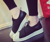 eva cabeça venda por atacado-2017 novo estilo de moda masculina e feminina sapatos Superstar Slip On head cruzados cinta preto e branco sapatos Tops unisex