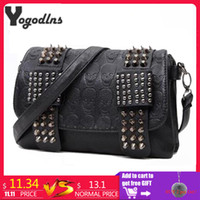 5158e1021505 2019 Fashion 2018 new fashion Women Black Leather Messenger Bags Fashion Vintage  Messenger Cool Skull Rivets Shoulder Bags sac a main bolsa