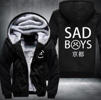 ingrosso giacca con cappuccio in pile per ragazzi-2018 New Winter Thick Mens Winter Hoodie Sad Boys Club addensare cappotto in pile Sad Boys Kiyoto Zipper Jacket