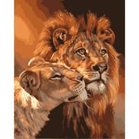 hayvan çizim boyası toptan satış-Ev sayılarla DIY yağlıboya duvar dekoru resim tuval çizim boyama by numarası hayvan yağlı boya aslan zanaat XC-007