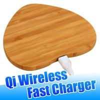 cargador inalámbrico de bambú al por mayor-Cargador inalámbrico de madera de bambú Almohadillas Qi de carga rápida para iPhone Xs Max Xr X Samsung S10 Note9 S9 S8 con paquete al por menor