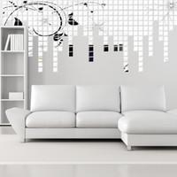 3d mozaik toptan satış-3D Duvar Sticker Mozaik Ayna Kare Ayna Duvar 2 * 2 CM Kanepe Oturma Odası Dekorasyon TOPTAN Ücretsiz kargo