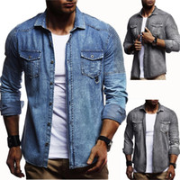 4b29693c610 2018 Men Washed Demin Shirts Long Sleeves Slim Fit Jean Shirts For Men  Cowboy Tees Tops Classic Casual Hombre Outerwear