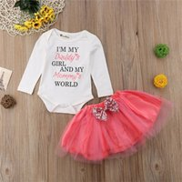 332a6e61cae Cute Newborn Baby Girls Kids clothes Tulle Bow Skirts round neck long  sleeve letter print Bodysuit 2pc cotton Toddler Outfits