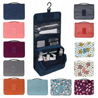 su geçirmez büyük kozmetik çantası toptan satış-Kadın Kozmetik çantası Organizatör Su Geçirmez Büyük Kapasiteli Kanca Seyahat çantası Asılı Tuvalet Yıkama Torbası erkekler Makyaj Çantaları 12 Renkler