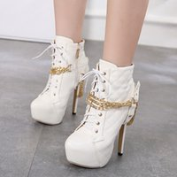 14cm schwarze stiefel großhandel-14cm Trendy weiß schwarz gold Kette Gitter Design Plattform High Heels Stiefel Frauen Schuhe Größe 35 bis 40