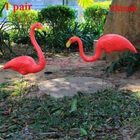 ingrosso cantiere art-1pair Plastic Red Flamingo Garden, Yard And Lawn Art Ornament Cerimonia di nozze Decorazione del giardino Jardin Landscape Dressing