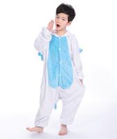 bf5cf0ba9f Bambini in flanella con cappuccio animale cartone animato cosplay caldo  pigiama onesies bianco blu Unicorno bambini Abbigliamento Costume MX-018
