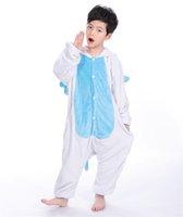 warme kostüme großhandel-Kinder Flanell Kapuzen Tier Cartoon Cosplay Warme Pyjamas Onesies Weiß Blau Einhorn Kinder Kleidung Kostüm MX-018
